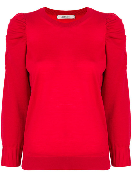sweater ruffle women wool red