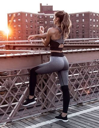 leggings sports bra matching set sportswear gym grey leggings colorblock workout workout leggings gym clothes