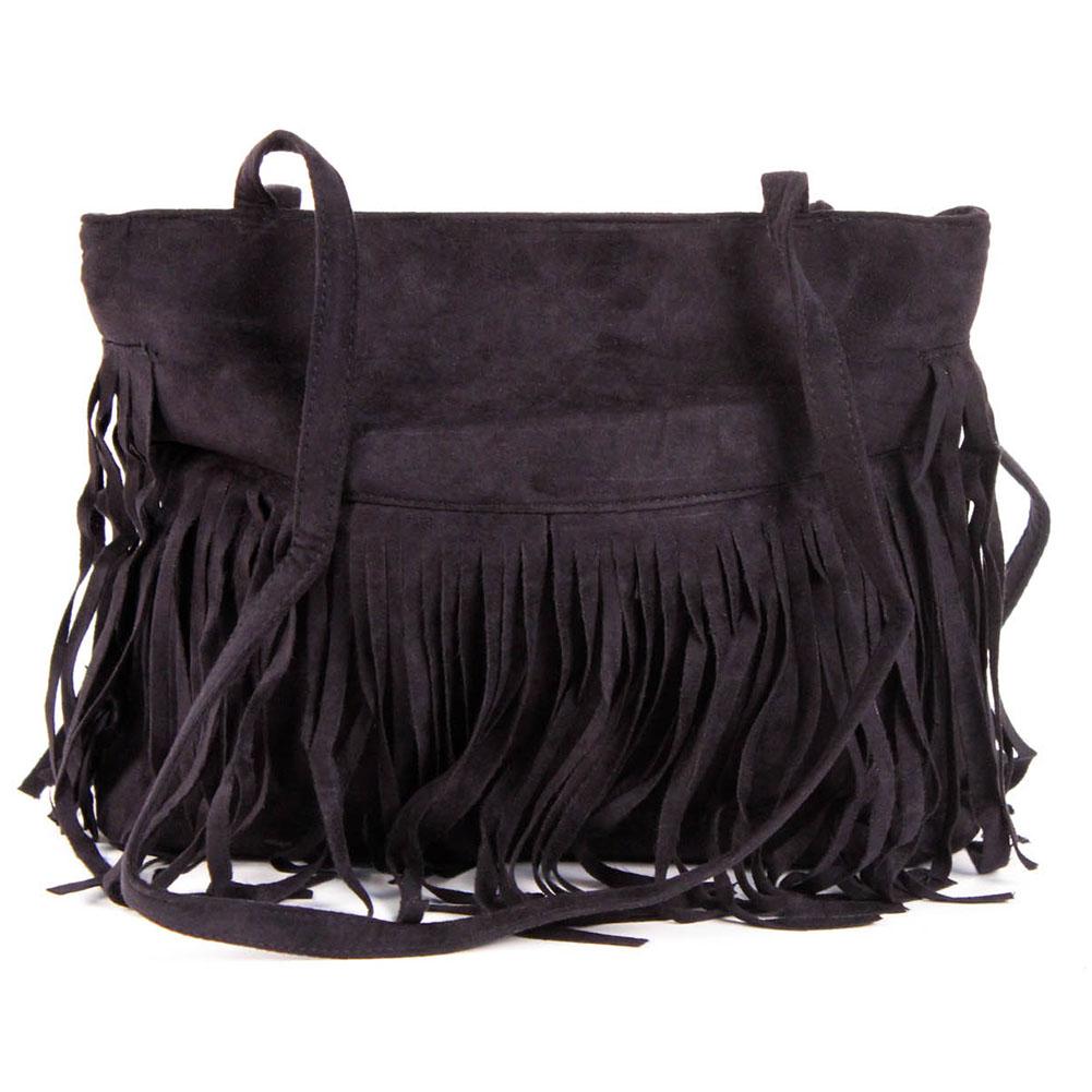 New womens faux suede leather tassel fringe shoulder handbag fashion purse bag