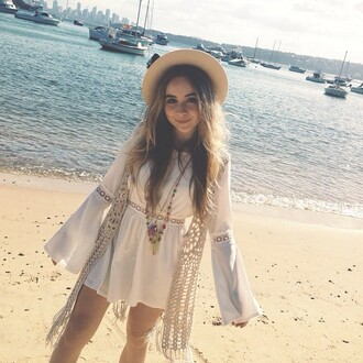 sabrina carpenter flare sleeve white dress lace cardigan crochet hat bohemian dress dress white girl meets world romper brown hat white romper danielle saunders saundersdanielle236@gmail.com saundersdanielle