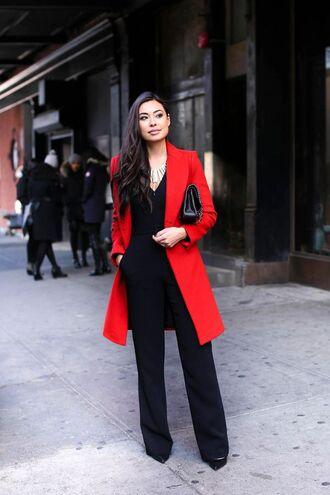 coat black jumpsuit red coat black purse stilettos blogger