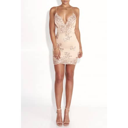 Champagne Twinkle Sequin Overlay Dress - JLUX Label