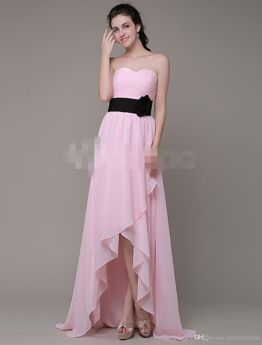 Cheap Bridesmaids Dresses Color Pink Chiffon Zipper Back Simple ...