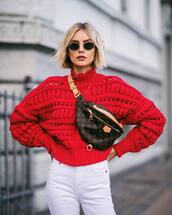 sweater,white jeans,high waisted,knitwear,belt bag,sunglasses