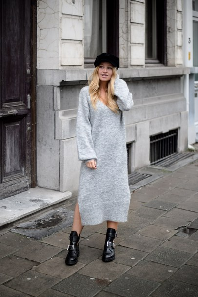 dress tumblr maxi knit dress maxi dress knit knitwear knitted dress sweater  dress grey dress boots a0db56269