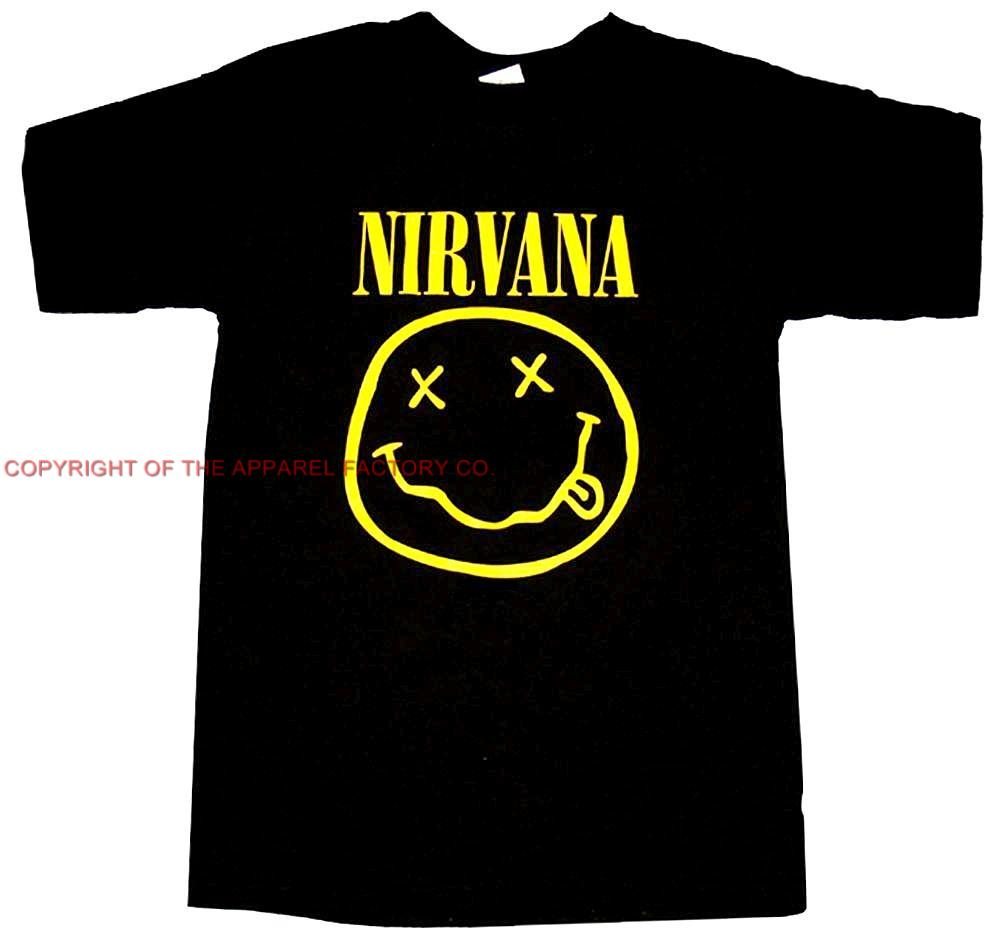 new nirvana rock band smiley face t shirt pick your size s m l xl free shipping. Black Bedroom Furniture Sets. Home Design Ideas