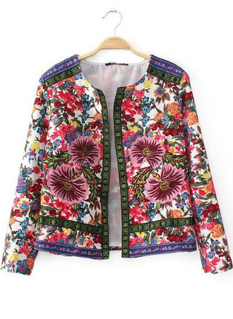 jacket blazer flowers embroidered pink blue colored fashion fashion blogger blogger pretty potd ootd adorable cute girl sheinside sheinside.com embroidered jacket