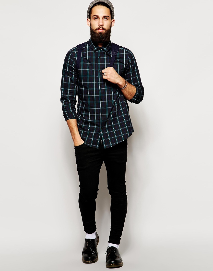 ASOS Smart Shirt In Long Sleeve With Tartan Check at asos.com