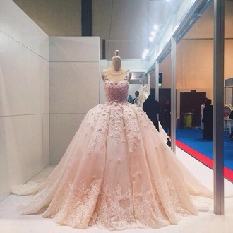 dress pink dress pastel cute dress pink prom dress ball gown dress gown