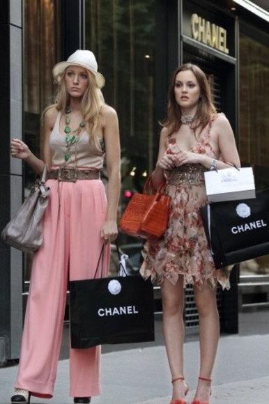 blake lively gossip girl pink wide leg trousers