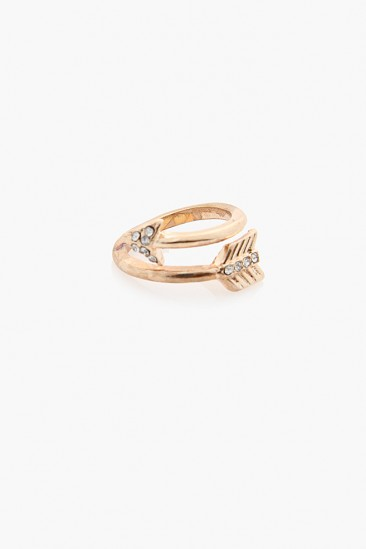 OMG Arrows Rhinestone Ring - Gold