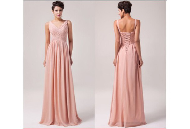 Beige Elegant V Neck Bridesmaid Dress: Dress: Blush Bridesmaid Dress, V-neck Bridesmaid Dresses