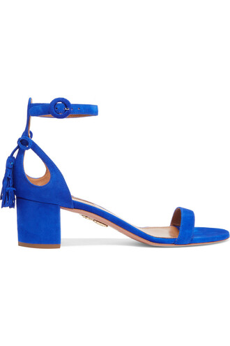 bow embellished sandals suede blue bright shoes