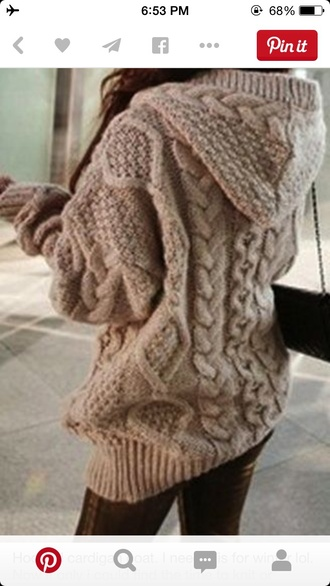 sweater big hoodie comfy knitted beige sweater