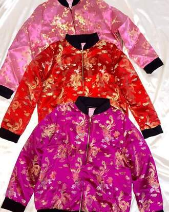 jacket cute patterns gold magenta pink red cute style asian bomber jacket satin bomber