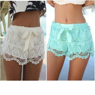lace shorts shorts white shorts