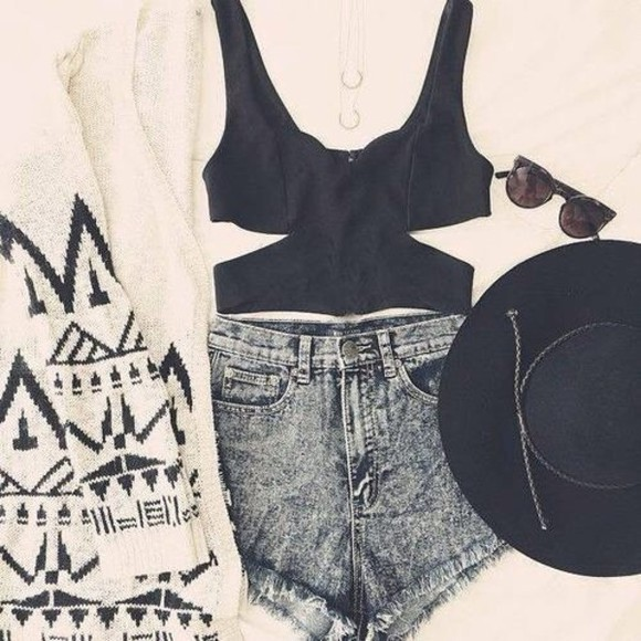 top black top black an white shirt hat shorts sunglasses sweater