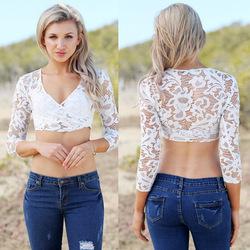701366c3122 Online Shop Hot!Sheer White Lace Shirt Women Long Sleeve Embroidery Crochet  Bodycon Floral Crop Top Sexy V-neck Short Blusa Renda TS5025|Aliexpress ...