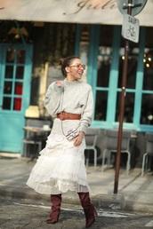 skirt,white skirt,boots,bag,mini bag,sweater,grey sweater,belt,midi skirt,ruffle skirt,ruffle