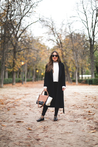 mypeeptoes blogger coat jeans shoes socks sunglasses jewels bag fall outfits black coat handbag white sweater loafers gucci shoes