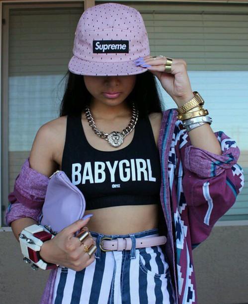 shirt crop tops high waisted shorts supreme hat jacket bangle tank top top dope swag tumblr hat