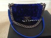 bag,chanel blue velvet boy bag