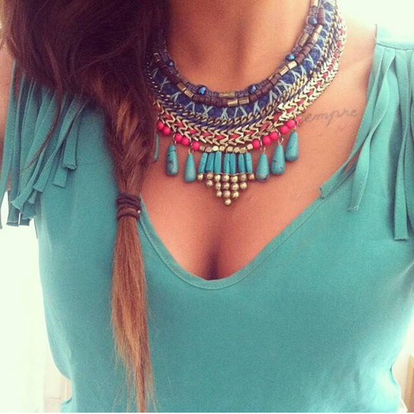 fringes hippie top jewels boho boho chic hipster jewelry boho jewelry plastron blue pearl fringed top