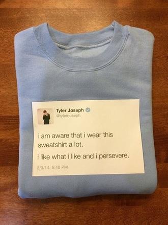sweater tyler joseph blue sweatshirt tweet