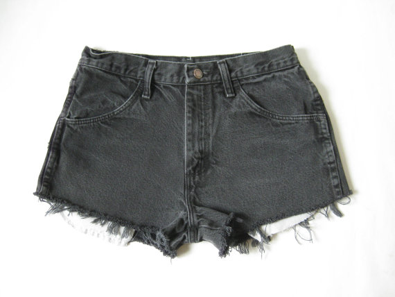 Vintage Rustler Black Denim Cutoff Shorts. Size by TimeBombVintage