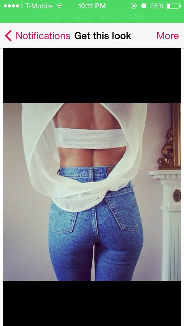 blouse white open back split back shirt jeans