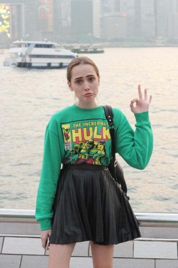 sweater movies marvel hulk mens sweater pleated skirt green skirt