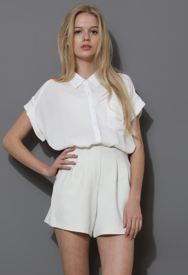 blouse pockets relaxed chiffon shirt white