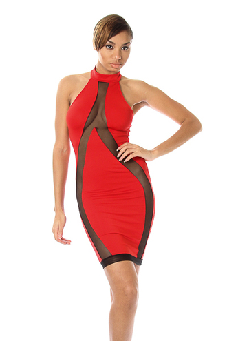 sheer mesh dress bodycon dress see through clubwear sleeveless halter