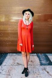 the red closet diary,blogger,dress,shoes,hat,make-up,necklace,black choker,choker necklace,black hat,fedora,felt hat,orange dress,mini dress,black boots,cut-out boots