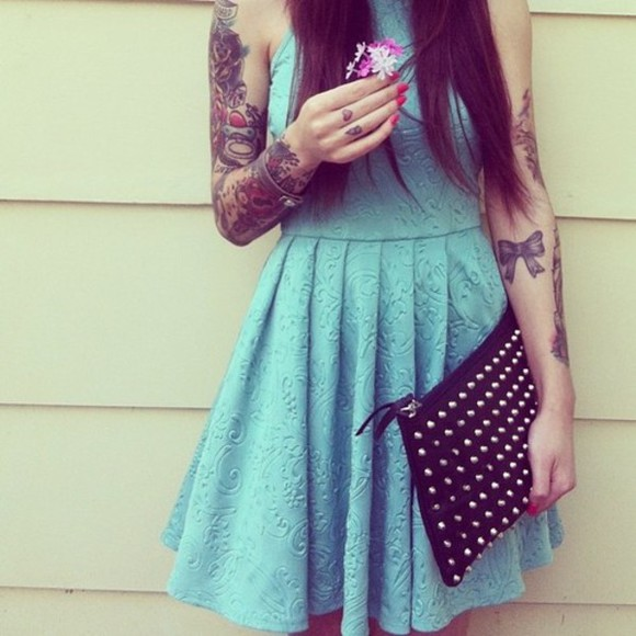 dress halter dress lace print sky blue lacy dress cute dress