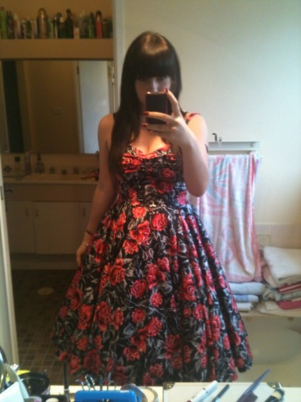 Pin up flowers floral dress