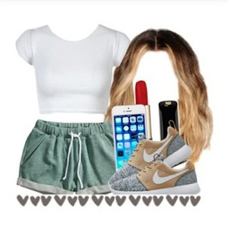 shorts green greens shorts top white tank top cropped crop tops workout top workout clothes womens workout shorts hairstyles roshe runs roshes roshe runs roshe runs roshe runs iphone case lipstick heart sneakers shoes outfit gym clothes women gym shorts gym wear gym wear for women clothes white white top