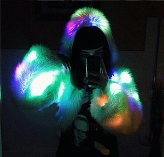 jacket fur jacket glow in the dark