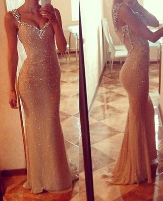 dress mermaid prom dress nude dress sparkly dress