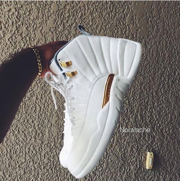 a3a48441b7615 shoes, jordan 12s customized, white shoes, gold, jordans, white ...