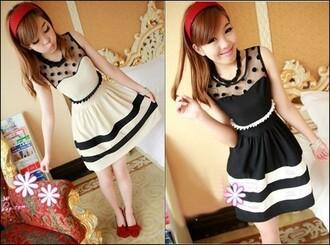 dress black dress white dress stripes cute adorable kawaii