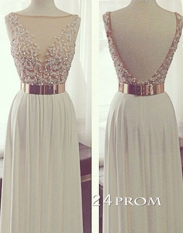 White A-line Backless Long Lace Prom Dresses, Formal Dress - 24prom