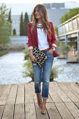 bag zebra pattern jeans denim casual outfit chic streetstyle bracelets jewels blonde hair red jacket leopard print pointed toe pumps office outfits clutch polyvore streetwear