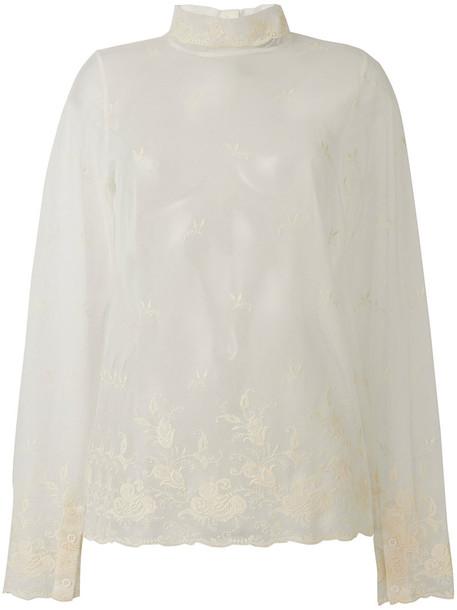 ANN DEMEULEMEESTER top women lace white cotton