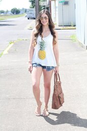 looks like rein,blogger,tank top,shorts,shoes,bag,sunglasses,jewels,graphic tee,white top,denim shorts,denim,ripped shorts,aviator sunglasses,brown bag,flats,gladiators