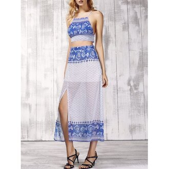 dress rose wholesale two piece dress set boho dress boho chic crop tops halter neck dress blue and white beautiful summer dress