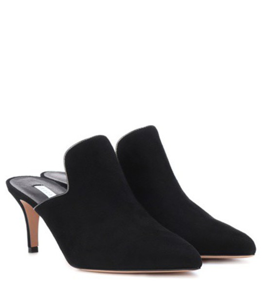 Veronica Beard Pearla suede mules in black