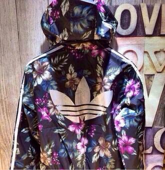 floral cute jacket blue black silver purple jumpsuit adidas