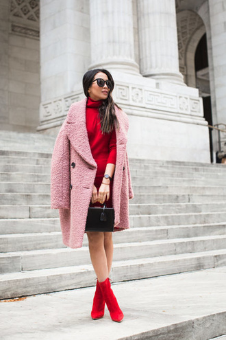coat tumblr pink coat fuzzy coat teddy bear coat boots red boots ankle boots dress red dress mini dress sunglasses bag black bag