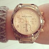 jewels,michael kors,watch,jewerly,gold watch,michael kors watch,fashion,michael cors,rose gold,gold,diamonds